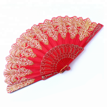 Wholesale Multicolor Wedding Lace Fabric Spanish Folding Hand Fans For Dancing