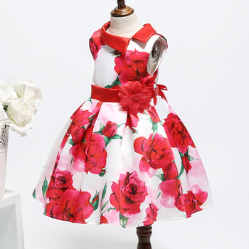 Western Style Flower Kids Girls Frock Designs Party Wear Dress Of Online Wholesale