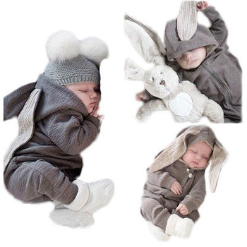 newborn baby clothes with big rabbit ears one-piece hooded zipper Ins foreign trade wish amazon hot sale