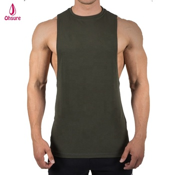 100% cotton mens muscle tank top bodybuilding gym singlet cut off tank