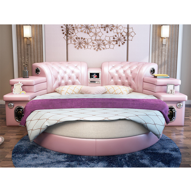 Girls Bedroom Furniture Pink Big Round Leather Bed,Cheap Round