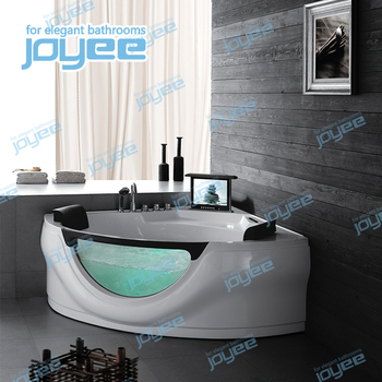 JOYEE spa tub free usa massage bath tub with tv jet whirlpool bathtub with tv