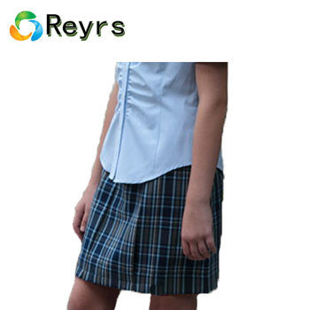 Reyrs good quality beautiful school girl ladies pleated mini check summer tight waist skirt