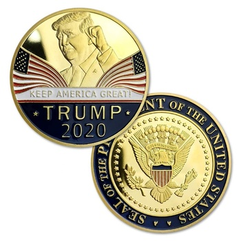 Donald Trump 2020 Challenge Coins, Keep America Great United States Presidential Re-Election Campaign Gold Plated Coin Token