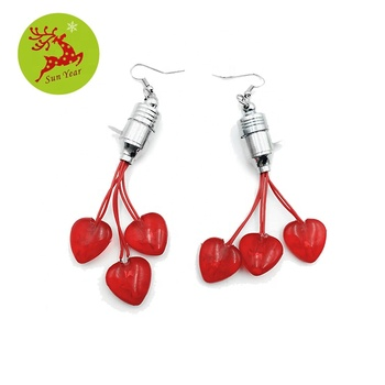 Valentine's Day jewelry LED flashing light up heart earring
