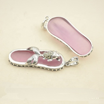 New 925 Sterling Silver Gemstone flip flops Pendant