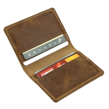 Crazy horse genuine leather card holder vintage men and women mini handmade business card holder