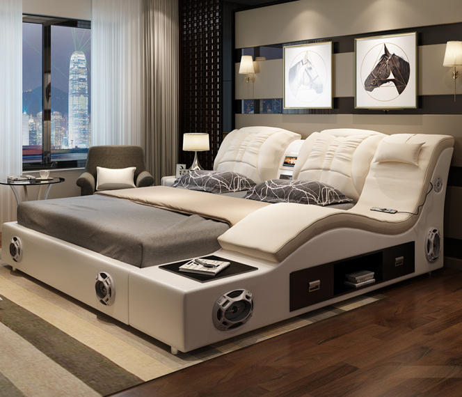 Luxury White Bedroom Furniture Modern Leather Bed Multifunction Massage Latest Double Design Buy Product On Alibaba Com