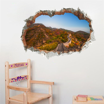 3d Great Wall Landscape Broken Wall sticker for home bedroom kids room decoration pvc vinyl adhesive waterproof wall paper decal