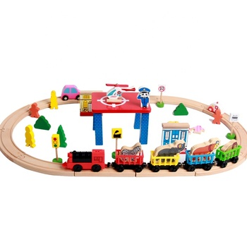 GoodKids Wooden Vehicle Slot Educational 55Pcs Set Train Track Thomas Model Train Toys