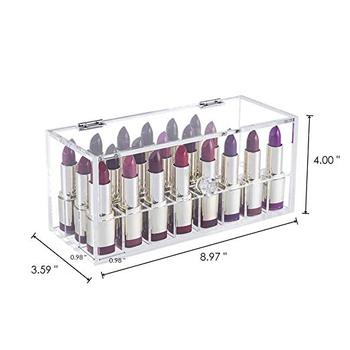 Lipstick Organizer Display Case,Makeup And Cosmetics Storage 24 Space Holder Acrylic Dustproof Lipstick Holder