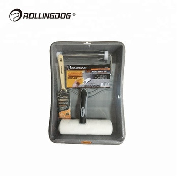 ROLLINGDOG 4PC 9 inch American Style Paint Roller Kit with Angle Paint Brush Microfibre Roller Paint Tray