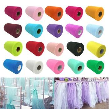 Tulle Roll 100 Yards Mesh Fabric Girl Skirt Wedding Decoration 100%Polyester Flocked Microfiber Tulle Fabric Roll Spool