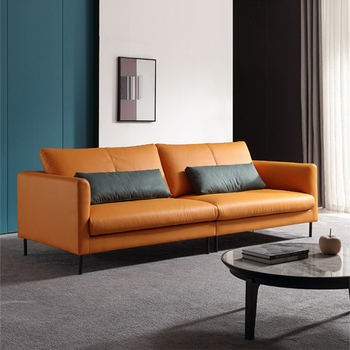 Italian light luxury leather sofa living room small family size three or four person simple modern leather sofa combination