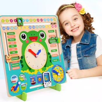 Factory Wholesale Weather Calendar Cognition Children Kindergarten Learning Toy Wooden Clock Toy Educational