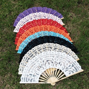 Embroidery Party Handmade Bamboo Cotton Fan Wedding Battenburg Lace Fan
