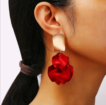 Creative simple red rose petal earrings wholesale retro earrings