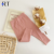 Wholesale Baby Pants Children Clothing Girls Solid Color Pale Pink Ribbed Cotton Comfortable Boutique trousers