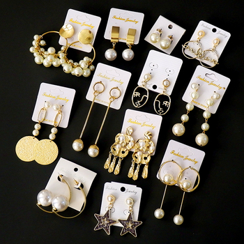 High quality vintage retro gold plated pearl hoop earrings for women