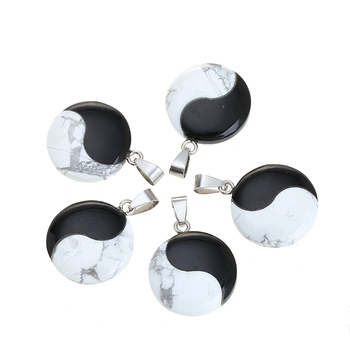 Natural Howlite & Black Onyx Yin Yang Stone Pendants Tai Chi Eight Diagrams Gemstone Pendant for Necklace Making