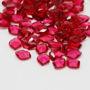 Factory wholesale bulk lip shape 6x8 mm ruby red glass gems