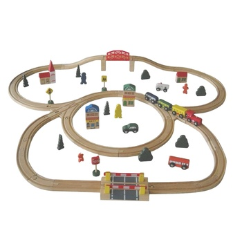 Top Sale Beech Wood Certified Kids Train Toys 70 pcs Wooden Train Set
