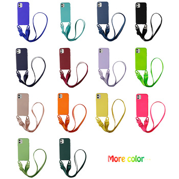 Silicone Necklace Phone Case With Lanyard for iphone 6 7 8 plus x xs xr xs max Cross Body Shoulder Neck Strap Rope Cord Cover