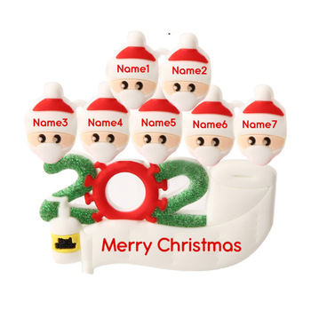 DIY Name 2020 Survivor Family of 5 with Face Hand Sanitized Christmas Ornament Gift Christmas Decoration