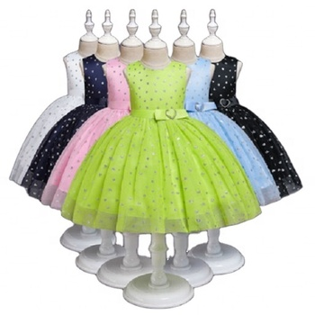 Shiny children's tulle princess dress girl frock for birthday party one piece flower girl wedding dress for 0-5 years old