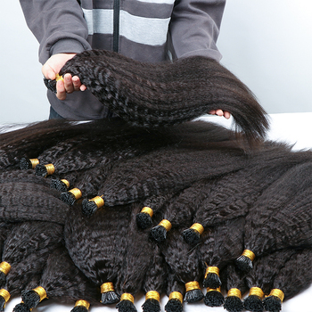 Cuticle Aligned Raw Virgin Unprocessed Indian Hair Kinky Straight Prebond Micro Link Keratin I tip Extensions
