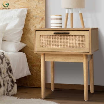Bedroom Furniture Rattan Wooden Bedside Table with Single Drawer Solid Wood Leg