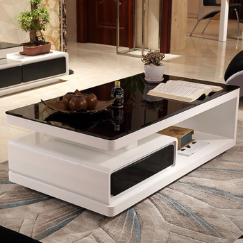 Modern Glass Coffee Table Set luxury coffee table living room furniture Black and White luxury coffee table top
