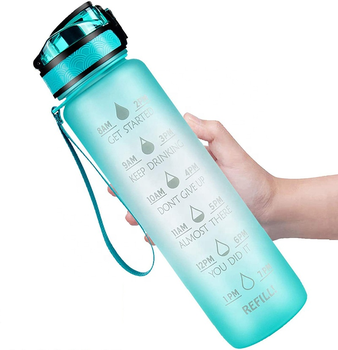 New product 2020 Sublimation blanks 32OZ Bpa Free Plastic Sports Water Bottle with Time Marker