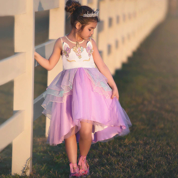 Kids fashion clothes tulle tutu princess unicorn party dress baby girls frock