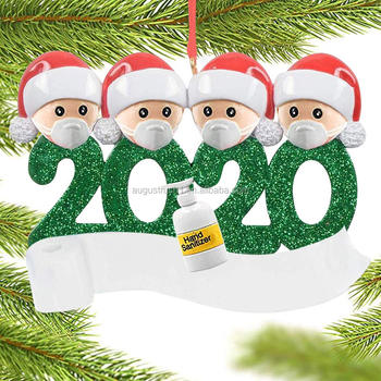 2020 Personalized Christmas Ornaments, Quarantine Survivor Family with Face Cover Customized Tradition for Family
