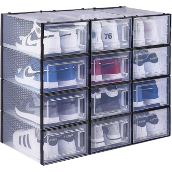 12 Pack Clear Plastic Drawer Type Front Opening Shoe Holder Containers Shoe Storage Boxes