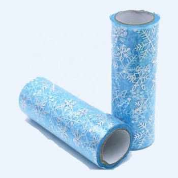 25 yards 6inch print snow mesh fabric tulle roll for windows curtains girl tutu table skirt