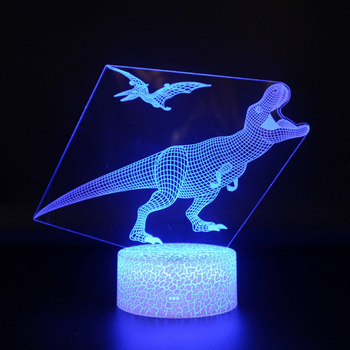 2020 new Dinosaur lamp 3D LED Table Lamp 16Color Changing Led Night Light 3d effect great present for kids hot sale