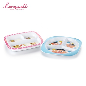 Ningbo Longwell Custom Three Grid Eating Lunch Kids Home Cute Animal Printed PP Plates ODM Dish BPA Free Plastic Baby Food Plate