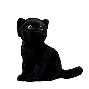 Real Life Cats Plush Toy Soft Black Sitting Cat Stuffed Toys Lifelike Farm Animal Kitten Toys Gifts For Kids