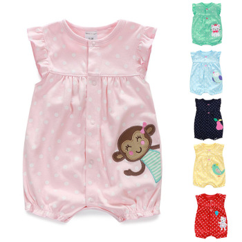 Girl Summer Graphic Rompers Cotton Baby Clothes Wholesale Newborn Onesie Animal Pattern Baby Romper