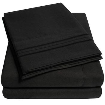 1800 Thread Count Egyptian 4 Piece Microfiber Luxury Bed Sheet Set With Deep Pocket Black Queen Size