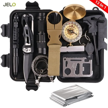 Hot Sales 13 in 1 emergency survival kit Wilderness SOS military tactical outdoor survival kits camping Adventure Fret Equipment