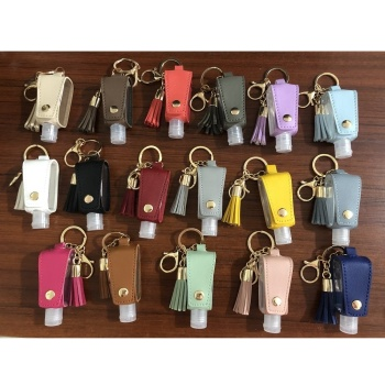 Newest design portable key chain hand sanitizer holder pocket hand sanitizer holder 30 ml alcohol spray bottle