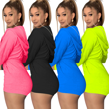 2020 Fall Clothing for Women Jumpsuits and Rompers Biker Shorts Women Jumpsuit Hooded Rompers
