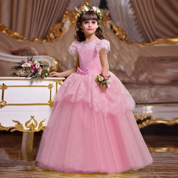New Arrival Children Fashion Frock 10 Year Old Baby Girl Lace Birthday Party Prom Dress LP-221