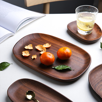 Wooden Homewares Food Serving Tray Eco Friendly Natural Set of 4pcs Acacia Wood Snack Plate Food Bread Dish Sets