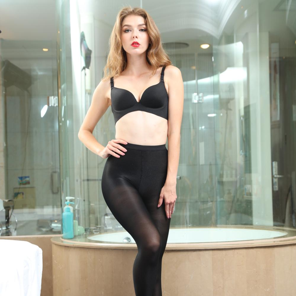 Women Plus Size Lace Waist Lady Top Shiny Glossy Pantyhose Sheer Stocking Tights