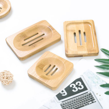 Eco Friendly Natural Soap Rack Plate Box Tray Container Custom Logo Bamboo Soap Dish For Bath Shower Plate