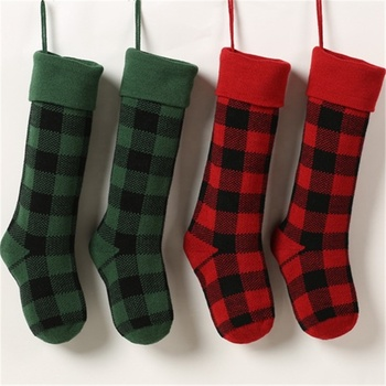 Large 46cm Family Holiday Decoration Hanging Plaid Gift Bag X-mas Stocking Candy Bags Christmas Stocking